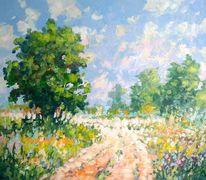 Sommer, Sonne, Blumen, Feldweg