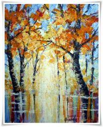 Malerei, Herbst, See