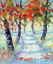 Weg, Licht, Herbst, Malerei
