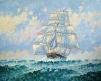 Segelschiff, Atlantik, Segel, Malerei