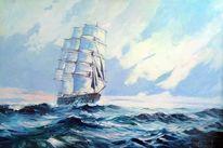 Segelschiff, Sonnenaufgang, Schiff, Malerei