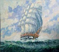 Atlantik, Schiff, Segelschiff, Malerei