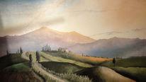 Toskana, Berge, Zypressen, Himmel