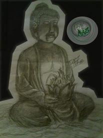 Zeichnung, Buddah, Bleistiftzeichnung,