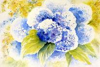 Blumen, Stillleben, Blau, Hortensien