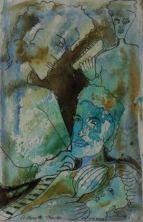 Aquarellmalerei, Musiker, Aquarell, Portrait