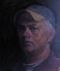 Alla prima, Selbstportrait, Ölmalerei, Portrait