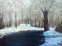 Landschaft, Winter, Ölmalerei, See bäume