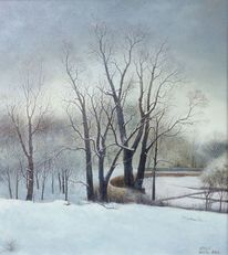 Winter, Landschaft, Baum, Ölmalerei