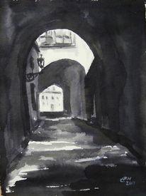 Stadt, Haus, Malerei, Prag