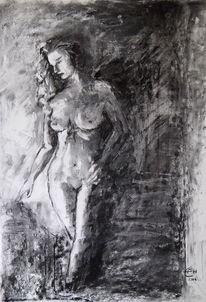 Akt, Zeichnung, Malerei, Dunkel