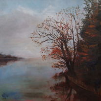 Nebel, Natur, Gemälde, Herbst