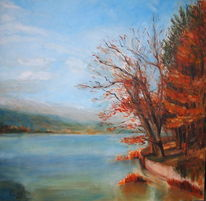 Landschaft, Ölmalerei, Natur, Sonne