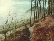 Herbst, Baum, Landschaft, Nebel
