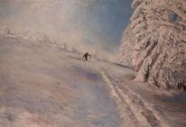 Ölmalerei, Winter, Malerei, Menschen