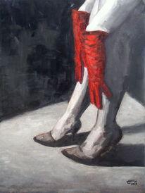 Rot, Handschuhe, Gemälde, Malerei