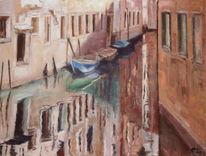 Venedig, Boot, Malerei, Pallazi