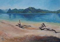 Wasser, Malerei, Landschaft, Treibholz