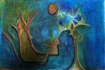 Baum, Nacht, Vollmond, Malerei