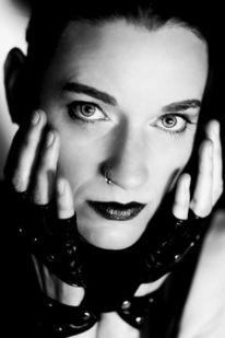 Handschuhe, Schwarzweiß, Frau, Portrait