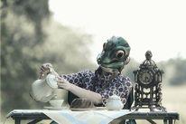 Frau, Zuckerdose, Kaffee, Surreal