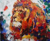 Tiere, Gemälde, Acrylmalerei, Löwe