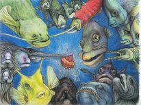 Fisch, Qualle, Meerestiere, Zeichnungen