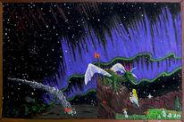 Polarlicht, Acrylmalerei, Nacht, Fantasie