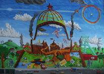 Acrylmalerei, Straße, Naive malerei, Tor