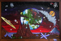 Mond, Acrylfarben, Kristall, Weltuntergang
