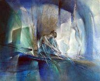 Frau, Seele, Blau, Entspannung