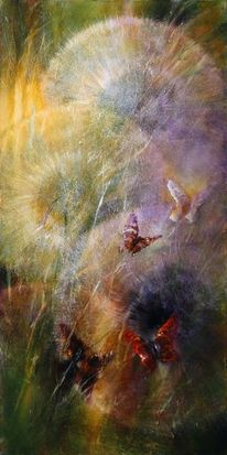 Licht, Schmetterling, Löwenzahn, Pusteblumen
