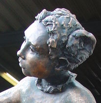 Kind, Portrait, Skulptur, Bronze