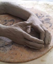 Frau, Hände, Plastik,