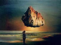Berge, Ölmalerei, Menschen, Fremde