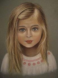 Portrait, Kind, Mädchen, Pastellmalerei