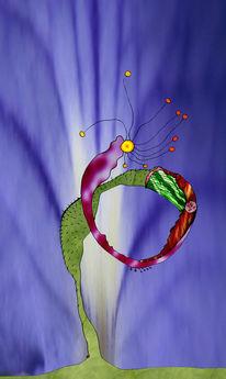 Welt, Spiralblüte, Bunt, Collage