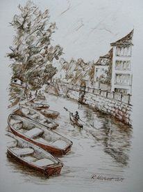 Leipzig, Boot, Wasser, Brücke