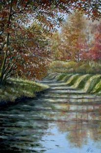 Herbstlicht am pfinzkanal, Malerei