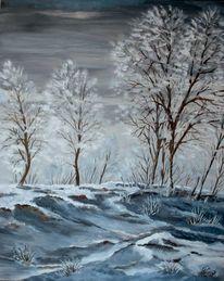 Hochgestade, Winter, Rheinebene, Malerei