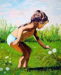 Kind, Pusteblumen, Malerei