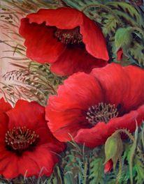 Blüte, Klatschmohn, Malerei