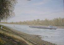 Bergfahrt bei niedrigwasser, Rhein bei rußheim, Malerei, Rhein