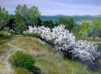 Schlehenblüte, Malerei