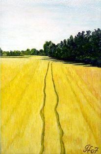 Kornfeld, Traktorspuren, Sommer, Malerei