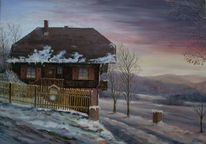 Ferienhaus, Schwarzwald, Winterlich, Dämmerung