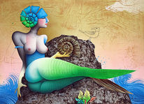 Schnecke, Fantasiefigur, Acrylmalerei, Ammonit