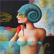 Ammonit, Muschel, Maske, Gesicht