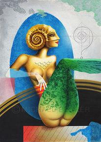 Goldammonite, Ammonit, Fantasiefigur, Muschel