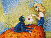 Strukturpaste, Frau, Katze, Acrylmalerei